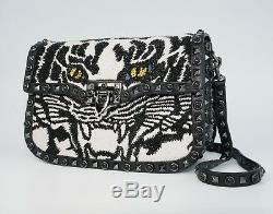 Valentino Garavani Guitar Rockstud Rolling Noir Tiger Shoulder Bag, MSRP $5,045
