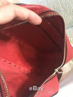 Valentino Garavani Rockstud Rolling Camera Crossbody Bag grainy leather in red
