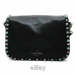 Valentino Guitar Rockstud Rolling Black Leather Cross Body Bag