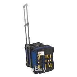 Vaughan 17-Inch Wide Mouth Rolling Tool Bag, Telescoping Handle Wheeled 050024