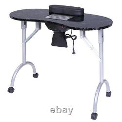 Vented Nail Manicure Table Desk Rolling Work Station Foldable With Cushion Bag