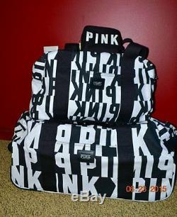 Victorias Secret Pink GRAPHIC 3 Pc Wheelie Duffel Bag Carry on Luggage Set NWT