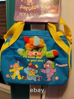 Vintage 1986 POPPLES MoC Roll Bag Duffle Coin Purse Factory Sample Canvas AmToy