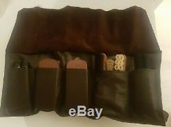 Vintage Gucci Shoe Leather Polish Brush Clean Kit. Leather Roll Bag. Great Gift