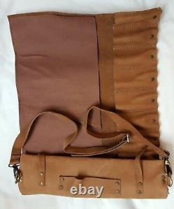 Vintage Tan Genuine Leather 10 Pockets Chef Knives Bag/Pouch / Case/Roll
