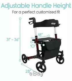 Vive Folding Rollator Walker 4 Wheel Medical Rolling Transport with Seat & Bag