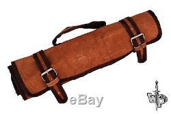 WP-1071 Custom Handmade Damascus Kitchen/Chef Knife Set 6/Piece/Leather Roll Bag