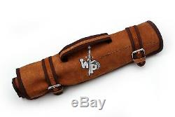 WP-1081 Custom Handmade Damascus Kitchen/Chef Knife Set 7/Piece/Leather Roll Bag