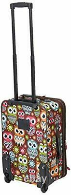 Wheeled Luggage Set 2 Piece Rolling Suitcase Tote Carry On Bag Travel Flight Owl