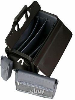 Wheeled Pilot Case Rolling 17.3 Laptop Roller Bag Briefcase Hand Luggage Flight