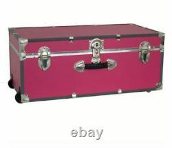 Wheeled Trunk Storage Push-Button Key Lock Campers Dorm Dweller Rolling Bag Pink
